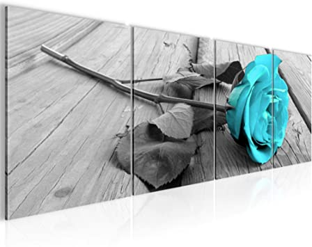 Bilder Set Mehrteilig Blumen Rosen Wandbilder Wohnzimmer Xxl 160 X 50 Cm Turkis Grau Modern 2044c Amazon De Kuche Haushalt