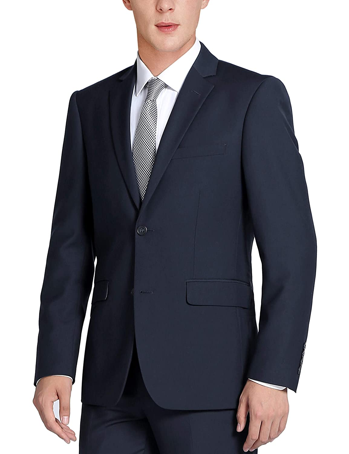 CHAMA Mens Solid Two Piece Two Button Classic Fit Business Suit-Many Colors