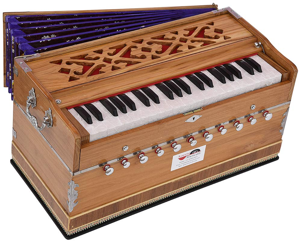Harmonium Teak Wood Extra Height By Kaayna Musicals -11 Stops- 6 Main & 5 Drone, 3½ Octave, Two Set Reed Bass/Male - 440 Hz, Coupler, Gig Bag. Best for Yoga, Bhajan, Kirtan, Shruti, Mantra, Chant, etc by Kaayna Musicals