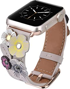V-MORO Flowers Leather Bands Compatible with Apple Watch Bands 42mm 44mm Series 4/3/2/1 Women with Stainless Steel Buckle Rose Gold, iWatch Replacement Bands Strap Wristbands (Ivory White, 42mm/44mm)