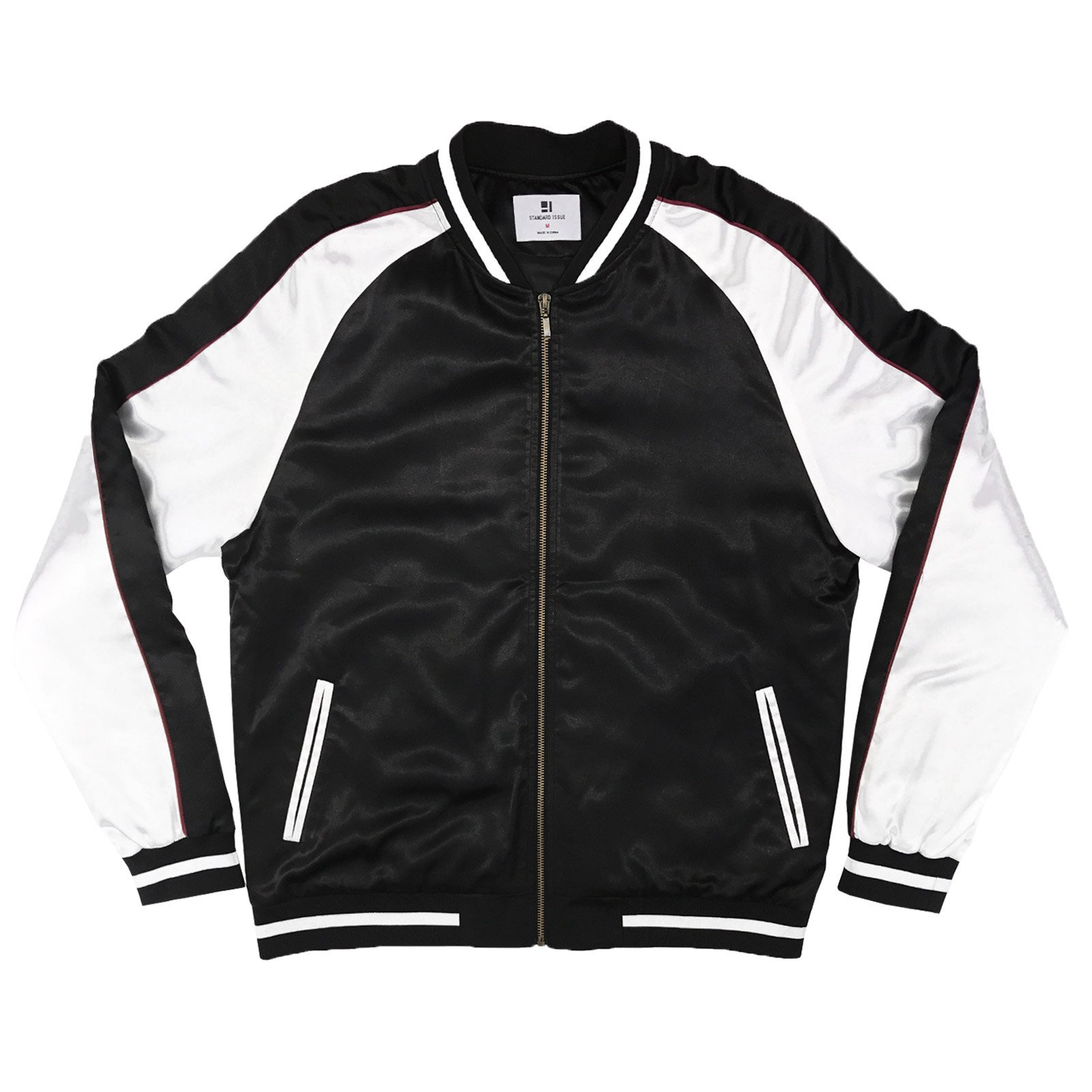 Standard Issue Solid Color Block Satin Baseball Varsity Bomber - Black/White, Black / White, Medium