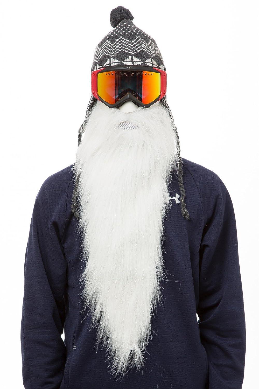 BEARDSKI Merlino - Mascherina da sci, con lunga barba bianca, colore: Bianco