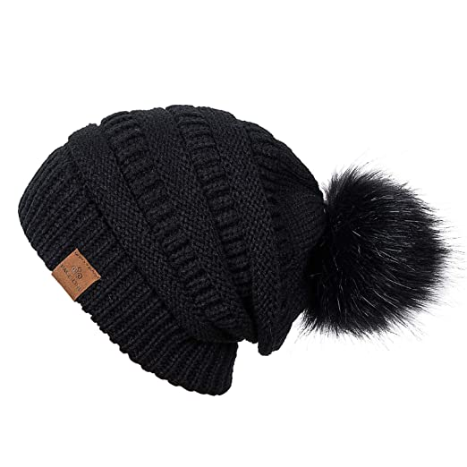 e08cd4d0109 PAGE ONE Womens Fleece Lined Slouchy Beanie Chunky Baggy Hat Fur Pom Pom  Winter Soft Warm
