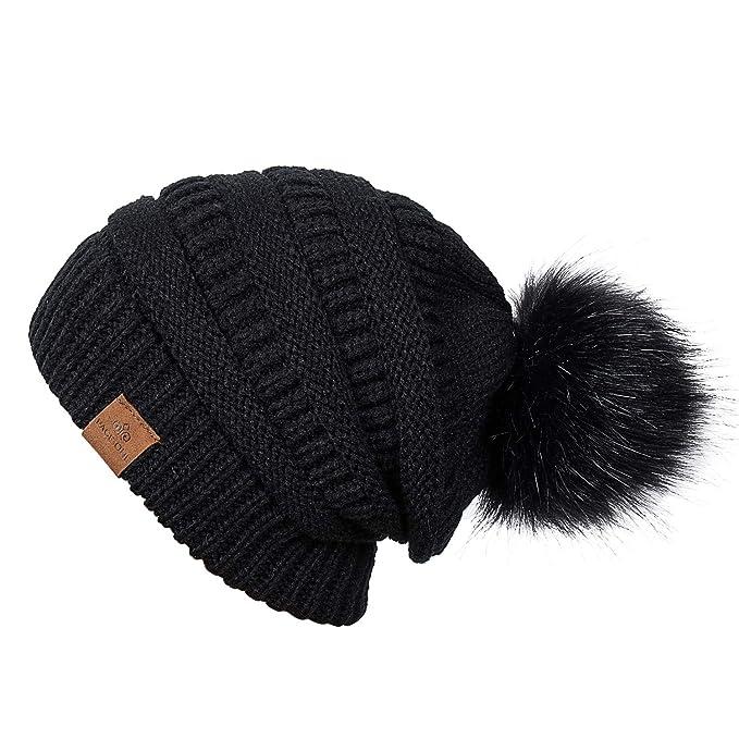 PAGE ONE Womens Fleece Lined Slouchy Beanie Chunky Baggy Hat Fur Pom Pom  Winter Soft Warm b5139fff4c5