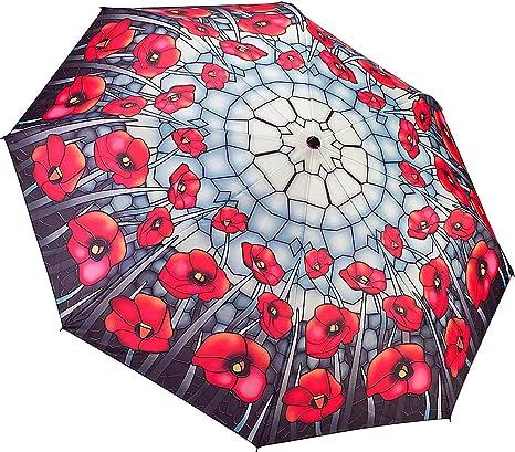 Galleria Rhapcity Purple Green Design Automatic Open and Close Folding Umbrella