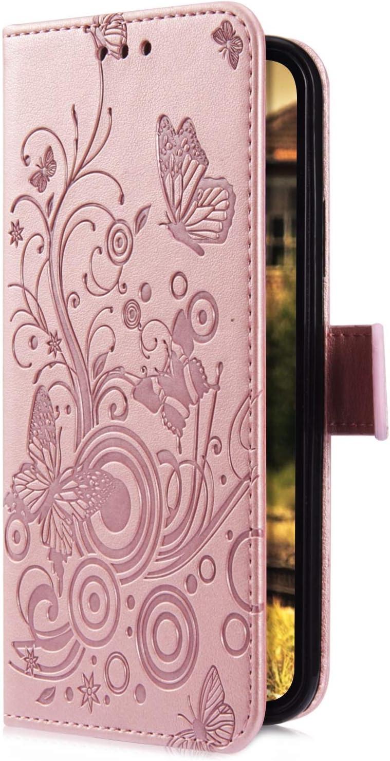 Saceebe Compatible avec Huawei P Smart 2019 Coque Cuir /Étui Wallet Housse Papillon Fleur Motif Portefeuille de Protection Coque avec Fonction Support Magn/étique Pochette Antichoc Coque,Or