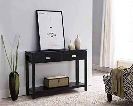 Magnificent Kings Brand Black Finish Wood Occasional Entryway Console Sofa Table With Storage Shelf 2 Drawers Bralicious Painted Fabric Chair Ideas Braliciousco