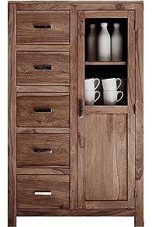 Vitrine Modern mit 2 Glas-Türen und 2 Schubladen aus massiver ... | {Küchenschrank modern mit glas 76}