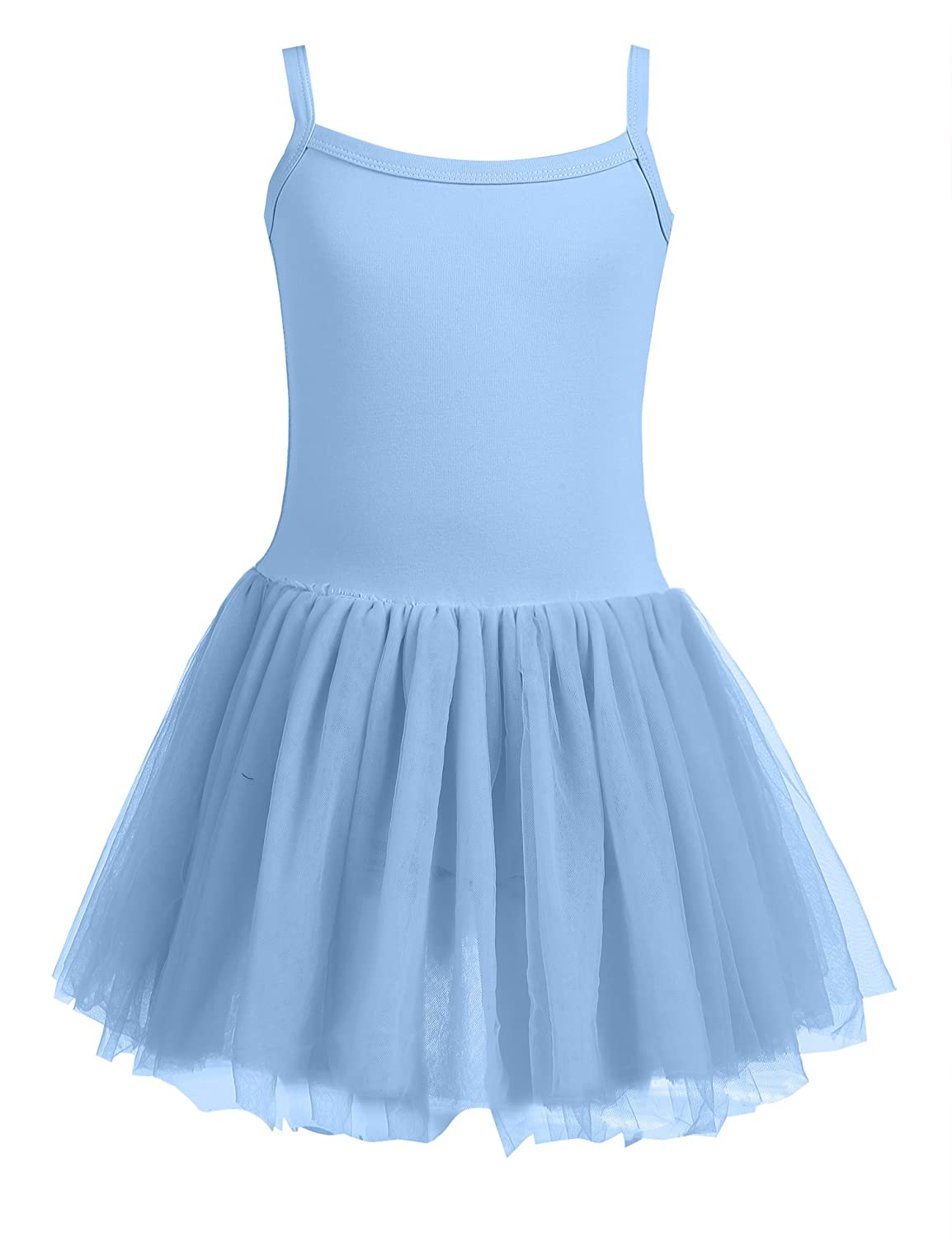 Arshiner Girls Solid Color Camisole Ruffle Tulle Mesh Tutu Dress Leotard AMS005003_BL_110