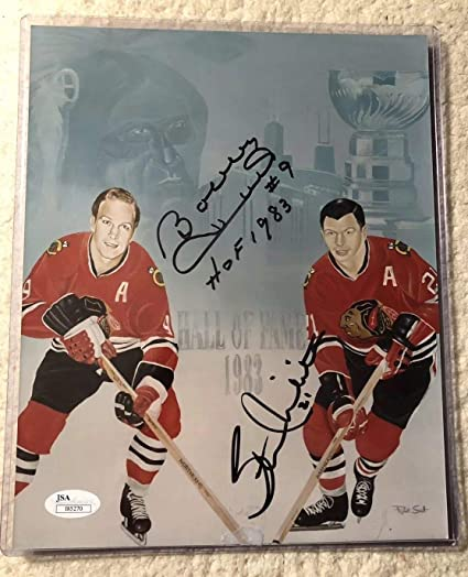 4afd28a4dd8 STAN MIKITA   BOBBY HULL Autographed 8x10 PHOTO Chicago Blackhawks ...