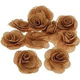 Lot de 10 Fleur Rose Toile de Jute Rustique Vintage Décoration Mariage Couture DIY 6.5cm - Brun