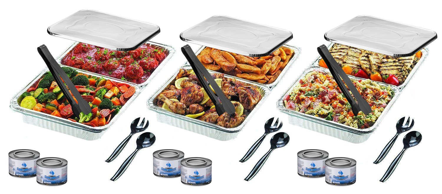 Disposable Chafing Pans Dish Set - 30-Piece Buffet Serving Chafer Combo Includes Full Size and Half Size Aluminum Steam Table Pans with Lids, Gel Fuel Cans and Serving Utensils by Plastible