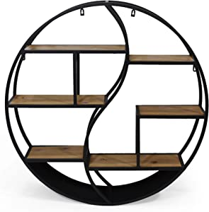 Christopher Knight Home Bobby Industrial Hanging Circular Wall Shelf, Black Finish, Natural