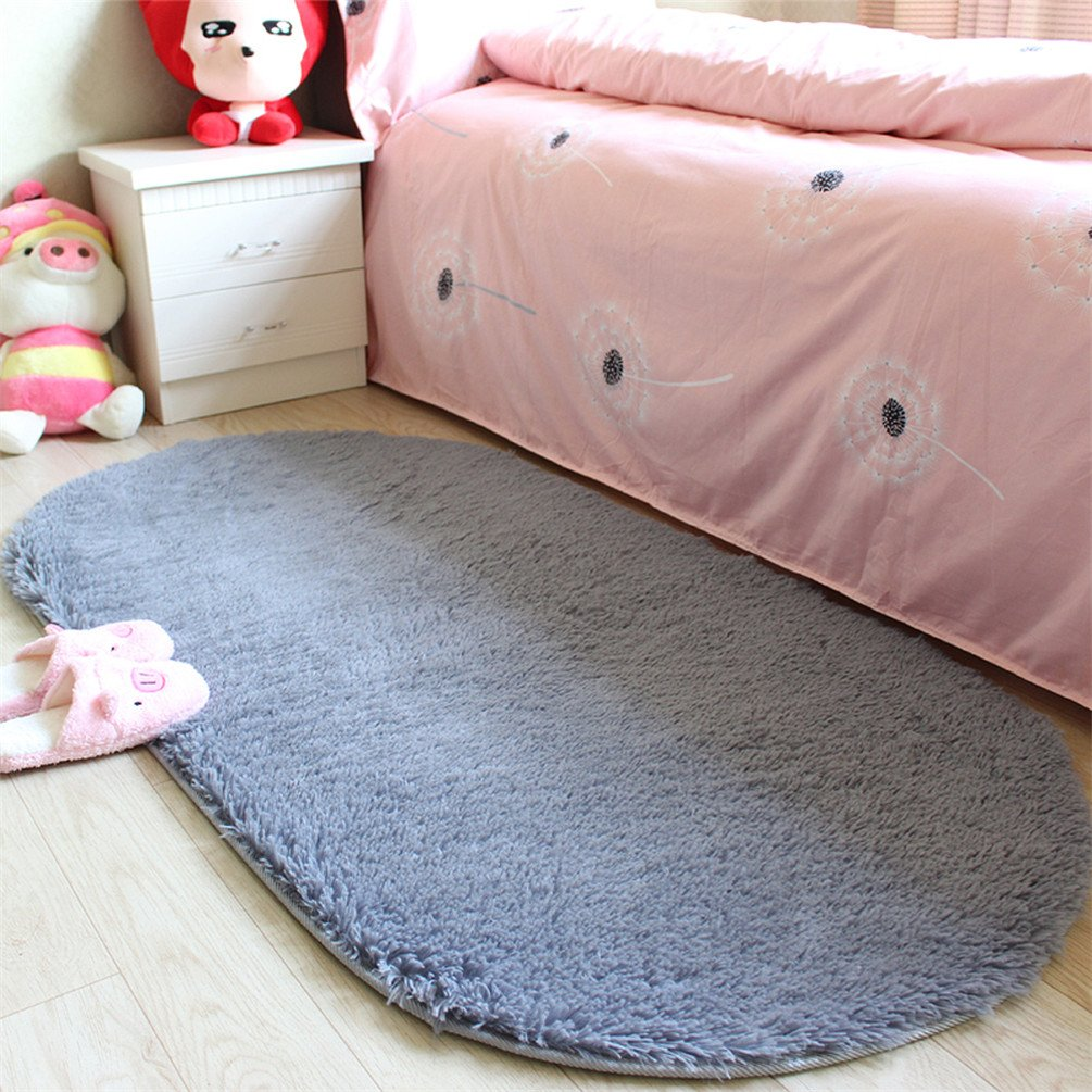 moonrug Ultra Soft Fluffy Oval Area Rugs Shaggy Living Room Rug Solid Color Non-Slip Bedroom Bedside Rug Runners 2.7' x 5.3', Gray