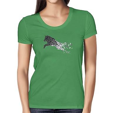 Texlab Polygon Wolf - Damen T-Shirt, Größe S, Grün