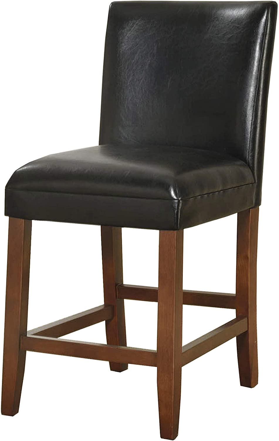 Amazon Com Homepop Parsons Leatherette Counter Height Chair 24 Inch Black Faux Leather Furniture Decor