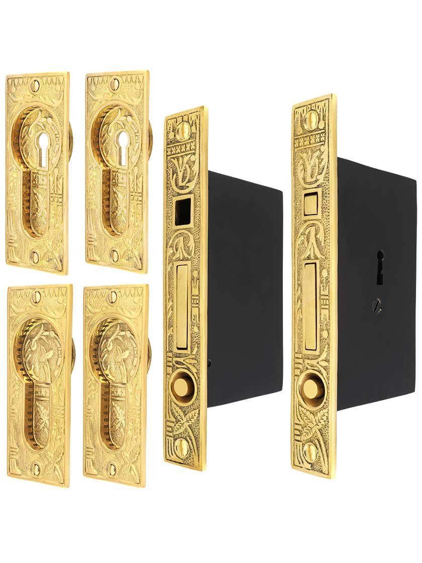 House of Antique Hardware R-06SE-536SET-UL Broken Leaf Bit-Key Double Pocket Door Mortise-Lock Set with Broken Leaf Pulls in Unlacquered Brass