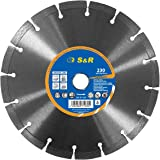S&R Disco da taglio Diamantato, 230 x 22,2 mm, Standard Universale, Saldato al laser, taglio a secco per Cemento Pietra Mattoni