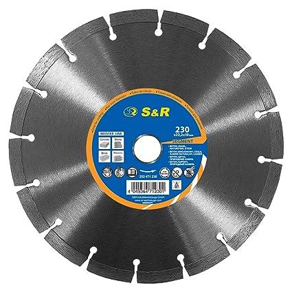 S&R Disco Tronzador Diamante 230 mm x22,2 para Hormigón, Piedra natural, piedra