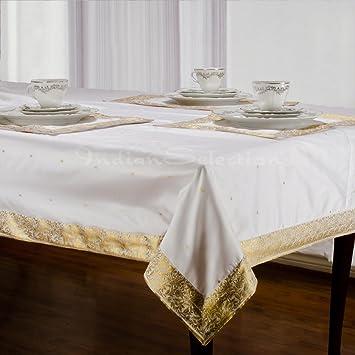 White Gold   Handmade Sari Oblong Tablecloth (India)   60 X 120u0026quot;