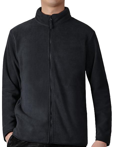 Fastorm Full-Zip Fleece Men Lightweight Fleece Solid Polar Thermal ...