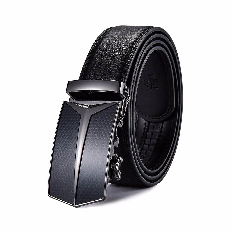 Fashion Mens Automatic Buckle Black Leather Ratchet Belt Waistband Strap Waist