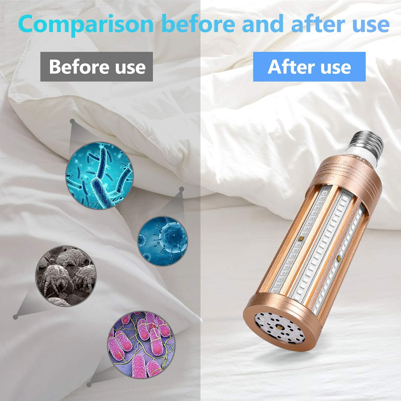 2020 Desinfectante de luz Ultravioleta UV Bombilla de L/ámpara Germicida UV-C 60W 230V E27 Base,99.9/% de Tasa de Esterilizaci/ón L/ámpara Desinfectante de Desinfectante UV para Hotel Hogar Ba/ño Ba/ño