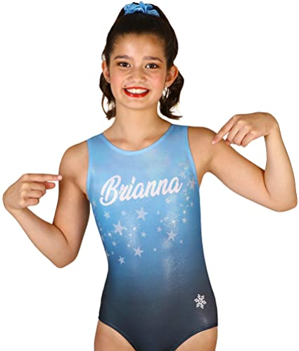 6575cdafb7e Snowflake Designs Blue Fame with Name Sublimated Gymnastics or Dance Leotard  (Child Extra Small)