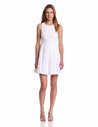 maxandcleo Women's Cross Strap Back Dress, White, 2