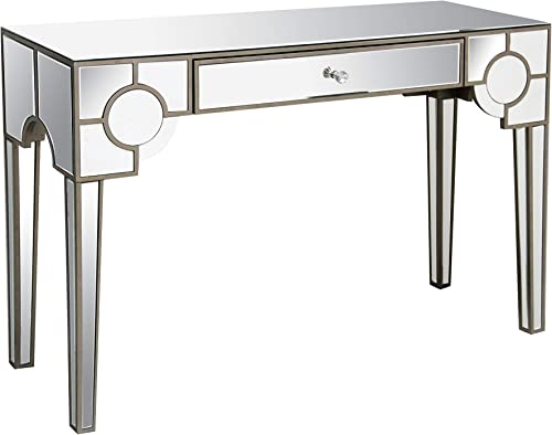 Benjara Benzara Mirrored Console Table with Drawer, Clear,