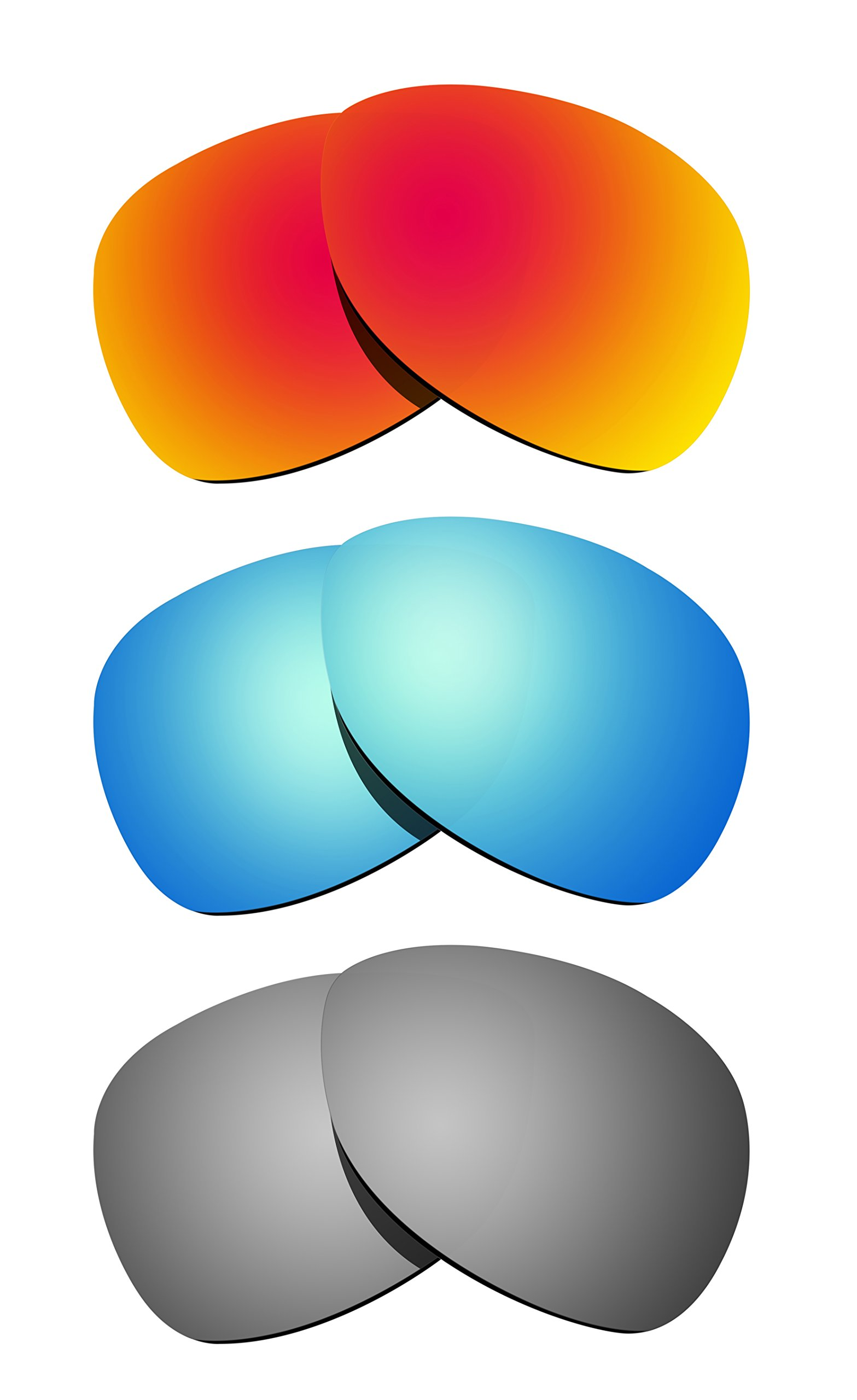 Littlebird4 3 Pairs 1.5mm Polarized Replacement Lenses for Oakley Crosshair Sunglasses - Multiple Options (Silver+Fire Red+Ice Blue)