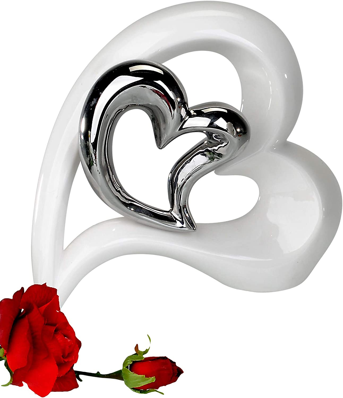 Sculpture moderne coeur de la c/éramique en blanc argent Hauteur 29,5 Largeur 25 cm
