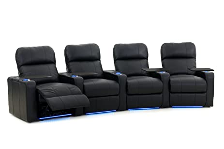 Octane Turbo XL700 Row Of 4 Seats, Curved Row In Black Bonded Leather With  Power