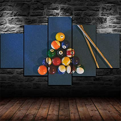DOLUDO Wall Art For Men Bedroom Super 5 Billiards Pool Table Balls Cue Game  Painting Living Room Wall Decor Canvas Painting Kids Room Canvas Print ...