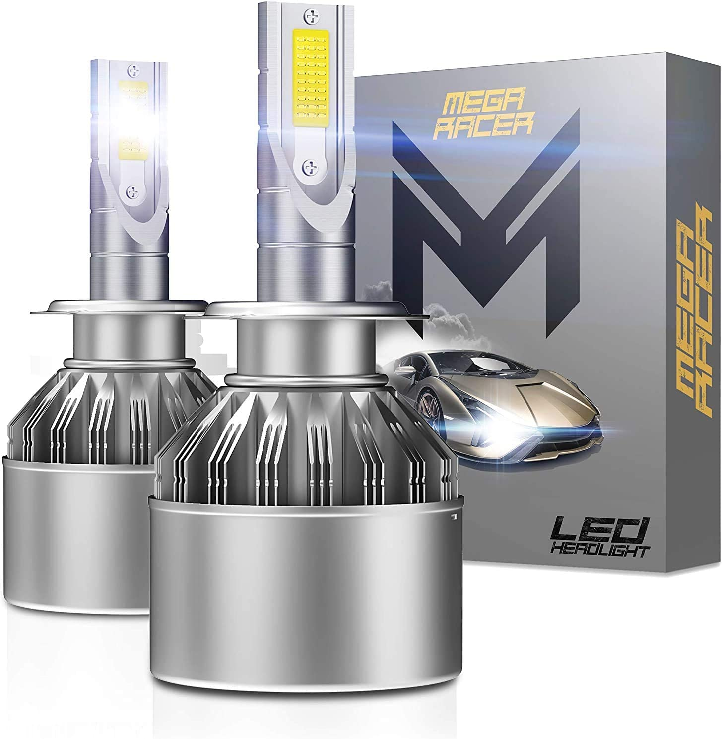 Mega Racer H7 LED Headlight Bulb 6000K White 8000 Lumens H7 LED Bulbs LED H7 Headlights H7 LED Headlights H7 LED Bulb LED H7 Headlight Bulb H7 Bulb H7 HID Kit H7 Headlight