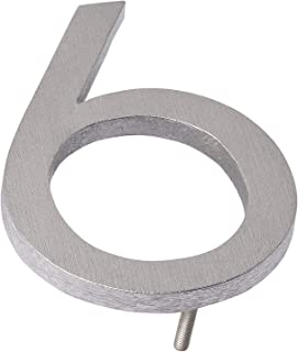 "product image for Montague Metal Products MHN-06-6-F-BA1 Solid Modern Floating Address House Numbers, 6"", Polished Brushed Aluminum"