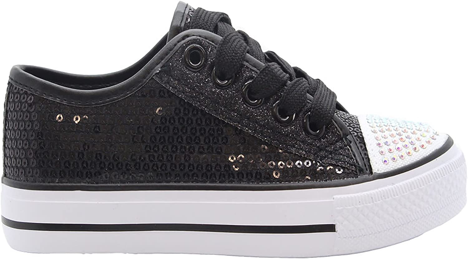MyShoeStore Girls Diamante Canvas Shoes Childrens Kids Toddlers Summer Sequins Pumps Casual Infants Trainers Flat Low Top Lace Up Lightweight Plimsolls Sneakers Skaters Sizes 5-3