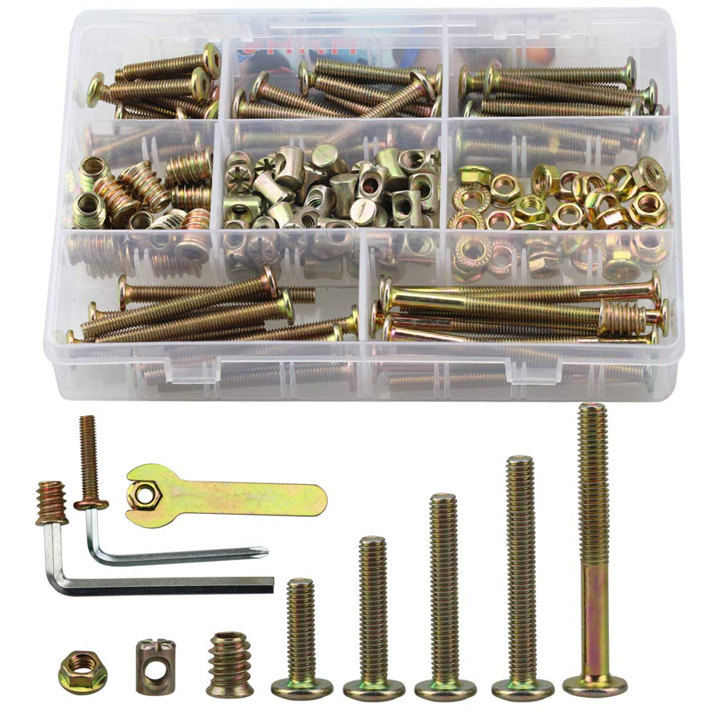 SZHKM Bolts Nuts Kit Hex Socket Head Cap Screws Nuts Zinc Plated M6 Crib Screws Furniture Barrel Screws Bolts Assortment Kit for Furniture Cots Beds Crib and Chairs 150PCS with Tools for Free