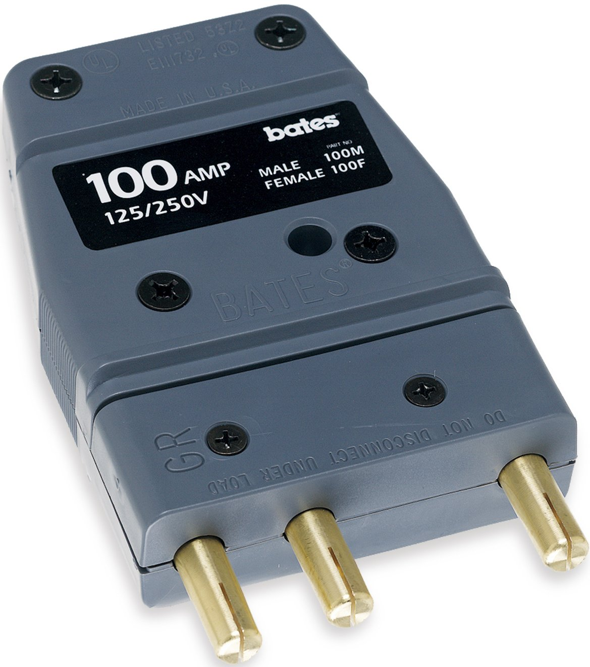 Stage Pin 100 Amp Male Inline Marinco Power Products Marinco 100M Bates 125 Volt
