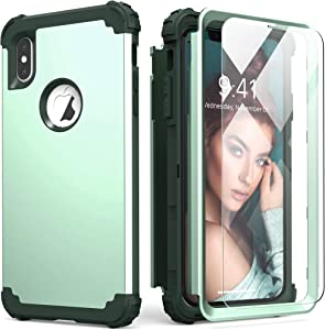 IDweel iPhone Xs Max Case with Tempered Glass, Hybrid 3 in 1 Shockproof Slim Fit Heavy Duty Protection Hard PC Cover Soft Silicone Rugged Bumper Full Body Case for iPhone Xs Max 6.5 Inch, Mint Green