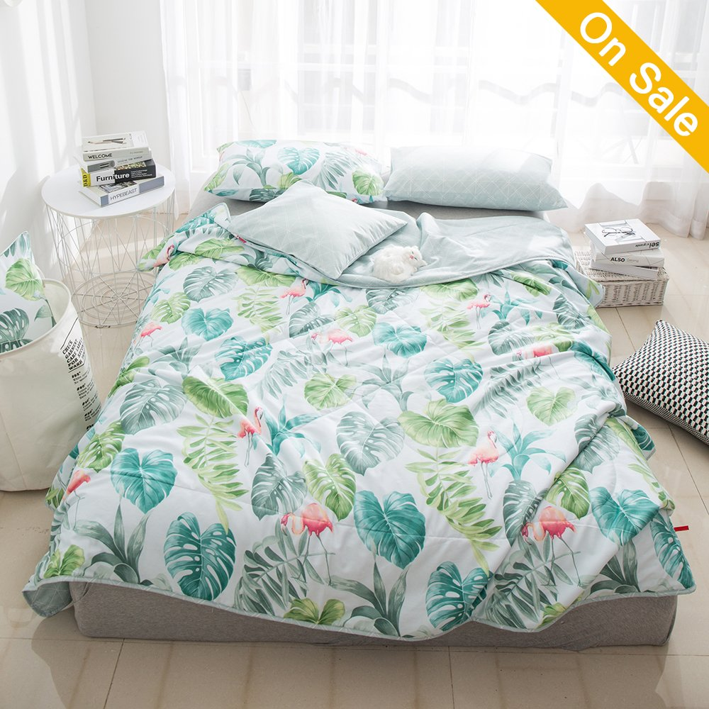 HMTOP 【New】 Flamingo Twin Bed Comforter Tropical Leaves Printed Quilted Comforter for Kids Teens Adults Boys Girls Bedding