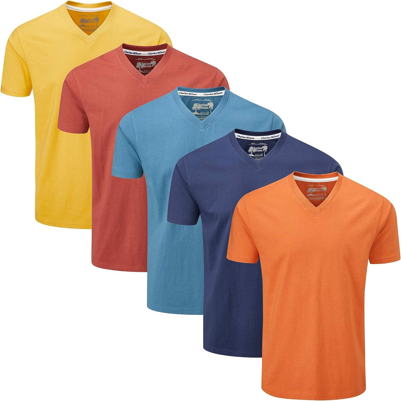 Charles Wilson Confezione da 5 T-Shirt Scollo a V Semplice