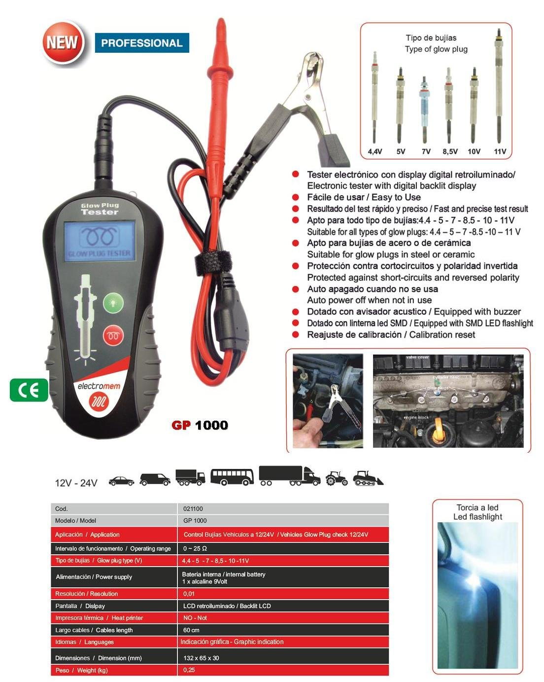 Tester de bujías y calentadores GP 1000 (021100): Amazon.es: Coche y moto