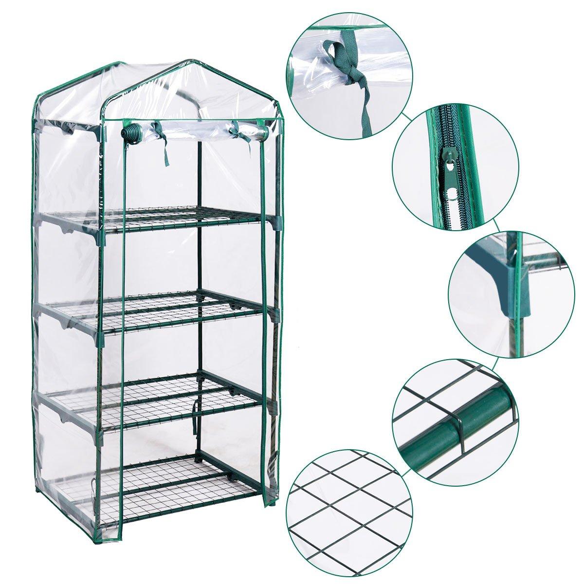 Giantex Portable Mini Walk In Outdoor 4 Shelves Greenhouse