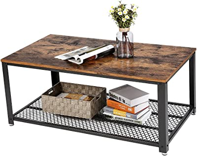 Rustic Wood and Metal Coffee Table With Storage Sturdy Durable Modern and Vintage Design Different Uses Organize Remote Controllers Magazines Books & eBook by BADA shop