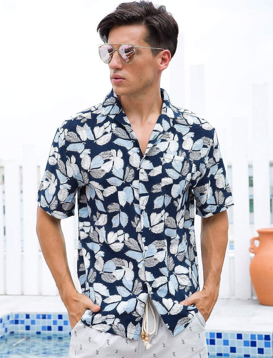 YUNY Mens Plus Size Floral Print Roll Sleeve Business Dress Shirt Navy Blue 2XL