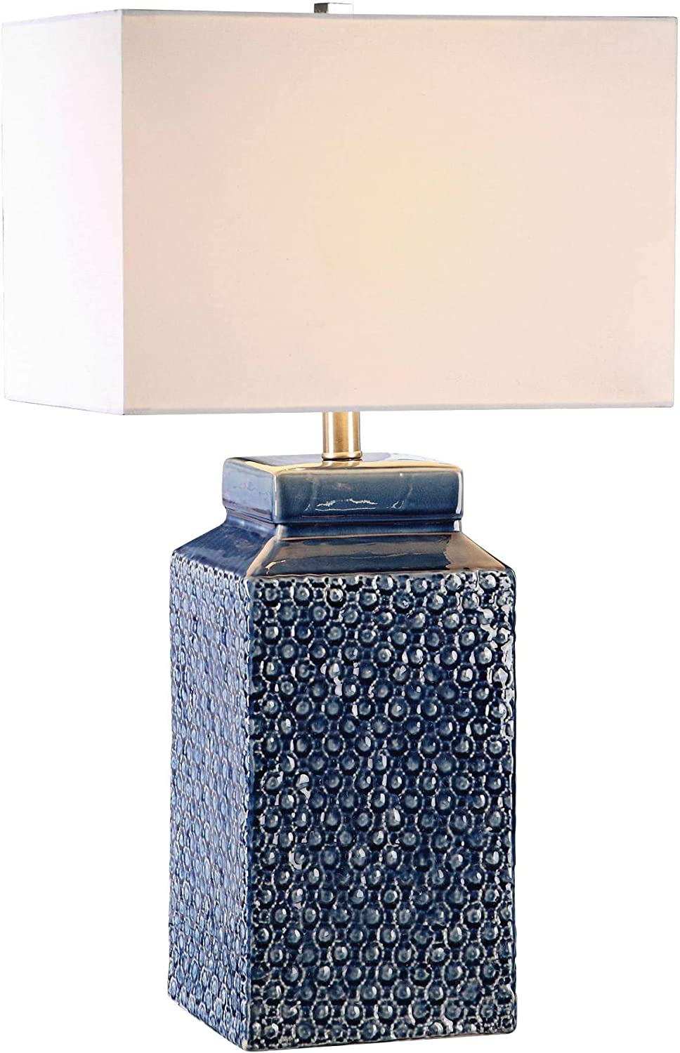Uttermost Pero Sapphire Blue Textured Ceramic Table Lamp