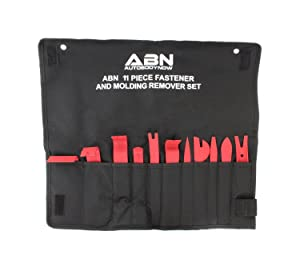 ABN Premium Auto Trim Removal Tool Kit - 11 Piece Pry Bar Set, Fastener Remover, No Scratch Trim Removal Set
