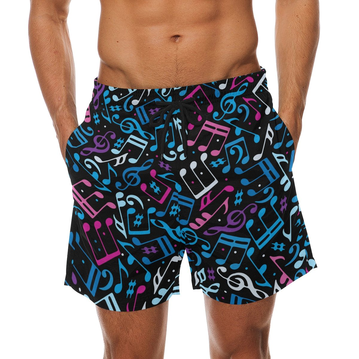 DEYYA Musical Note Summer Beach Shorts Pants Mens Swim Trunks Board Short for Men
