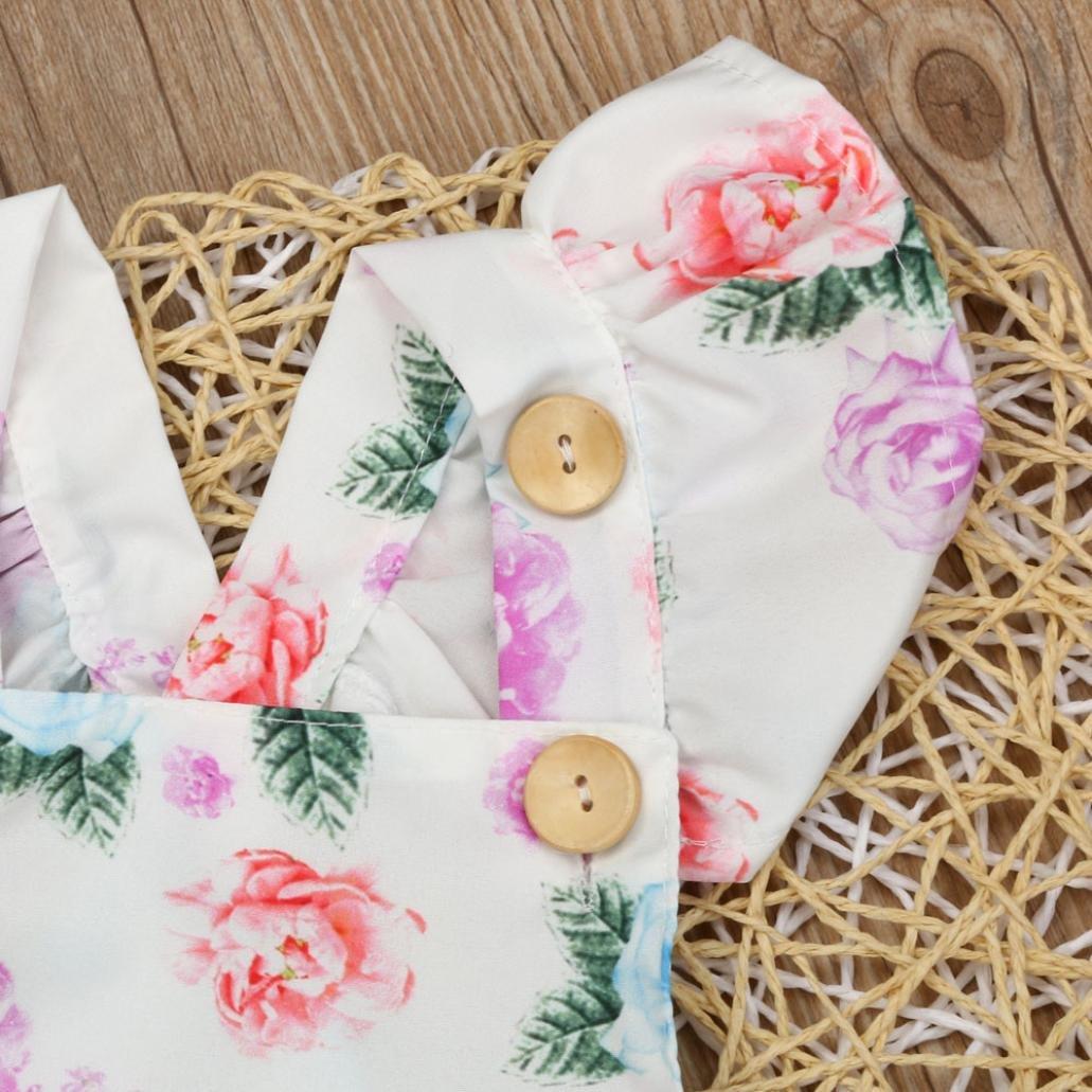 SMARTLADY Beb/és Ni/ñas Estampado De Flores Rosa Mono Bodysuit y Piezas De Banda De Pelo